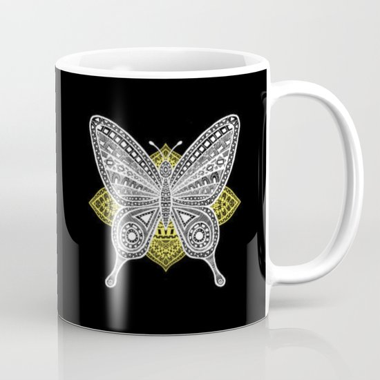 The Butterfly Watercolor Illustration on Mug by Haidi Shabrina