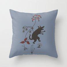Black Dog Dancing in a Gorey Garden Throw Pillow
