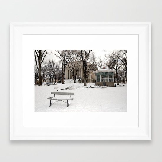 Winter time - Courthouse in Prescott AZ - Wiskey Row Framed Art Print