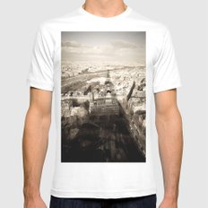 Shadow Over Paris SMALL White Mens Fitted Tee