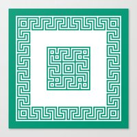 Greek Key emerald Canvas Print