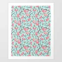 Cherry Blossom Pattern(sky) Art Print