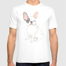 French Bulldog Mens Fitted Tee White SMALL