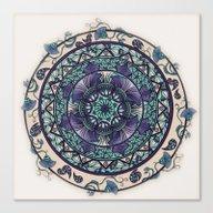 Morning Mist Mandala Canvas Print