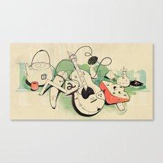 Music, tea & Cheese Canvas Print