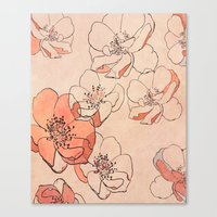 Painted Wild Roses Canvas Print