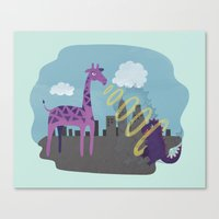 Giant Giraffe vs Godzilla Canvas Print