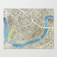 New Orleans City Map Canvas Print