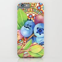 iPhone Cases featuring Nouveau Rococo Blueberries by Patricia Shea Designs