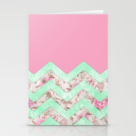 Girly Mint Green Pink Floral Block Chevron Pattern Stationery Card