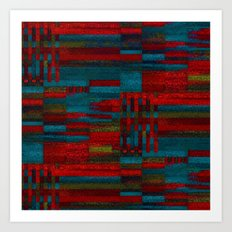 Dark reds in lines of chalk Art Print