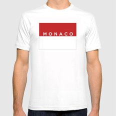 Monaco country flag name text White Mens Fitted Tee SMALL