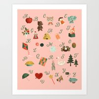 alphabet Art Prints featuring Alphabet by The Midnight Rabbit