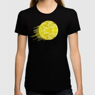Yellow Blossom Womens Fitted Tee Black X-LARGE