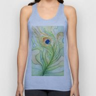 Green Watercolor Feather… Unisex Tank Top
