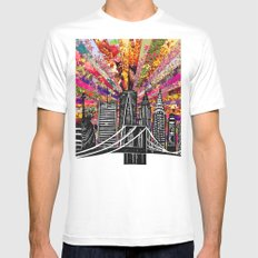 Linocut New York Blooming White Mens Fitted Tee SMALL