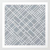 Map Outline Grey 45  Art Print