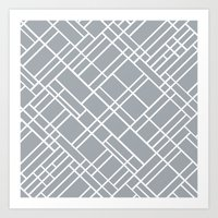Map Outline Grey 45  Art Print