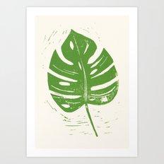 Linocut Leaf Art Print