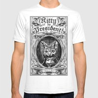 Kitty For President Mens Fitted Tee White SMALL