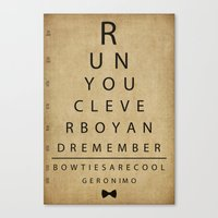 Run You Clever Boy - Doctor Who Vintage Eye Exam Chart Canvas Print