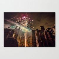 Fireworks in the ruins of Dunmore Park House. Canvas Print