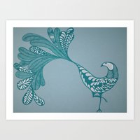 Blue And Silver Bird Art Print