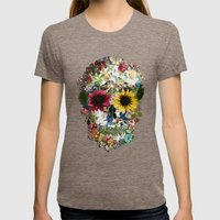 Skull Flower Womens Fitted Tee Tri-Coffee SMALL