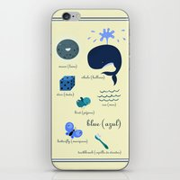 Colors: blue (Los colores: azul) iPhone & iPod Skin