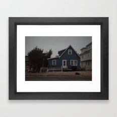 Blue Home, Orange Sticker, After Sandy Framed Art Print