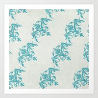 teal Art Prints featuring Teal by Juste Pixx Designs