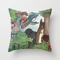 Studio Ghibli Crossover Throw Pillow
