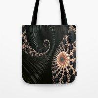 Elegant Black&Cream Fractal Twirl Tote Bag