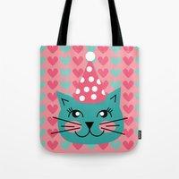 Cat Party hat Tote Bag