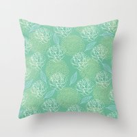 Pastel Peony And Leaf Pa… Throw Pillow