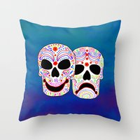 Comedy-Tragedy Colorful … Throw Pillow