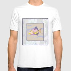 Unique Fish Design Mens Fitted Tee White SMALL