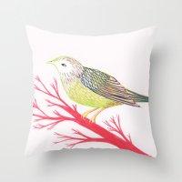 Little Green Bird Throw Pillow