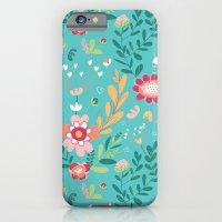 iPhone & iPod Case featuring Teal Garden Hearts by Alyssa Bermudez