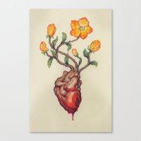 THIS BLEEDING BLOSSOMING HEART: ORANGE WILD ROSE Canvas Print