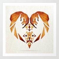 foxes heart  Art Print