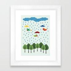 Birds in the rain. Framed Art Print