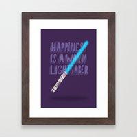 Happiness is a warm Lightsaber Framed Art Print