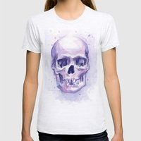 Skull Watercolor Purple Womens Fitted Tee Ash Grey SMALL