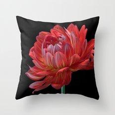 Orange Dahlia Throw Pillow
