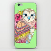 Barn Owl & Flowers iPhone & iPod Skin