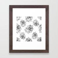 Rose Line Pattern Framed Art Print