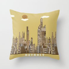 Detroit skyline vintage  Throw Pillow