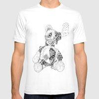 Steampunk Steam punk Teddy Bear Original pen and ink design guns gears gas mask mechanical heart Mens Fitted Tee White SMALL