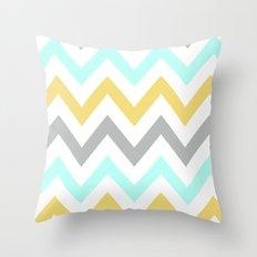 BLUE/GRAY/YELLOW CHEVRON Throw Pillow